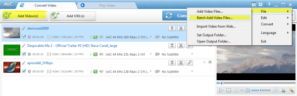 Add input video file