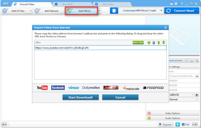 Add video URLs to Any Video Converter