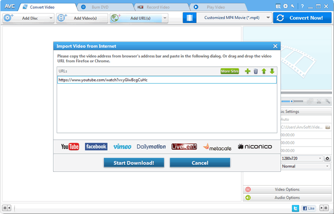 Add video URLs to Any Video Converter Ultimate
