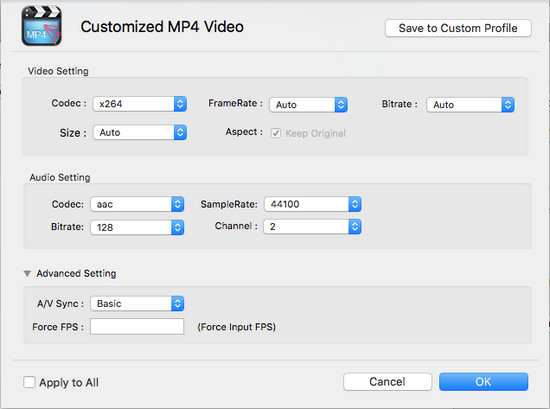 Customize output parameters on Mac